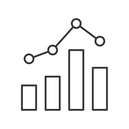 Statistics graph line icon on white background