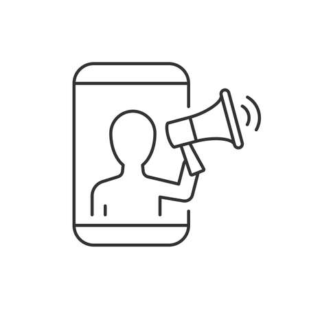 Mobile marketing line icon on white background