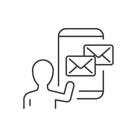 Email marketing linear icon on white background