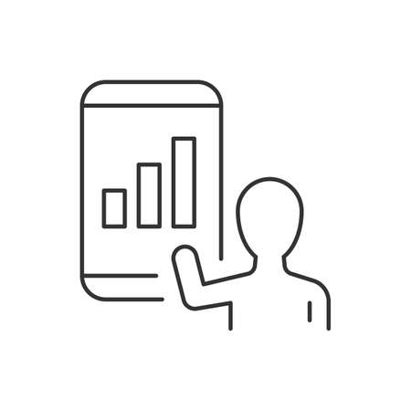 Data result on mobile phone line icon on white background