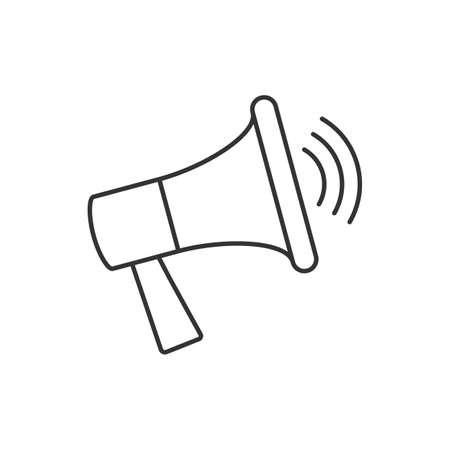 Megaphone linear icon on white background. Advertising symbol