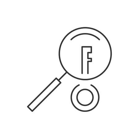 Keywords searching linear icon on white background Ilustração
