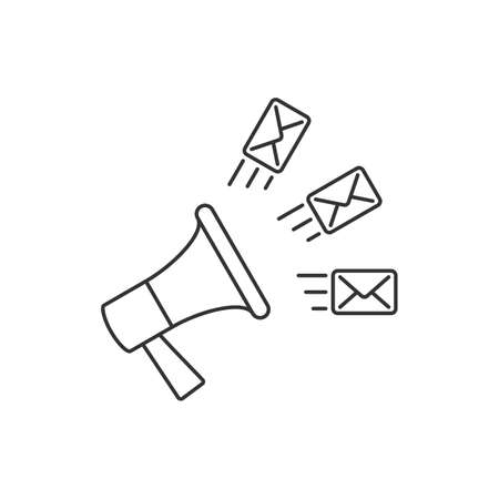 Email marketing linear vector illustration on white background Vectores