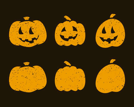 Halloween scary pumpkins on dark background. Vector illustration Illusztráció