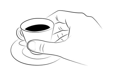 Hand holds a cup of espresso on a saucer Çizim