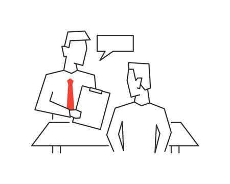 Job interview vector outline illustration Çizim