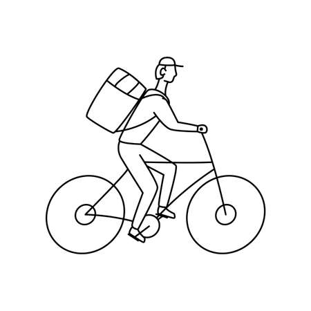 Bicycle courier vector linear illustration on white background Çizim