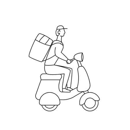 Courier on scooter deliver food linear vector illustration