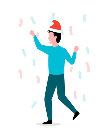 Man in a christmas hat celebrates the holiday