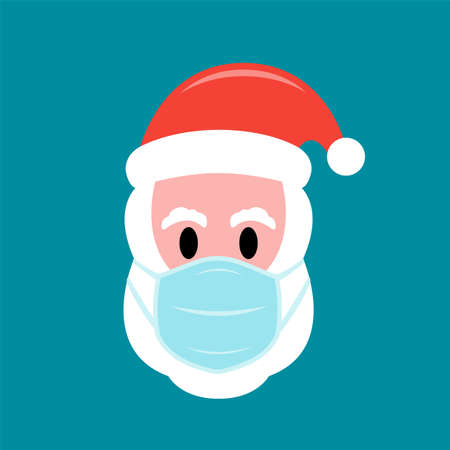Santa Claus in protective face mask flat icon