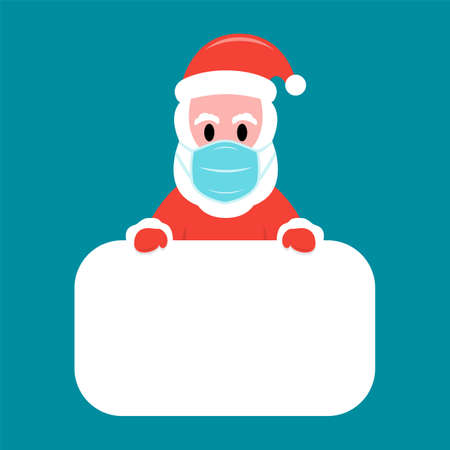 Santa Claus in protective facemask holding white board Çizim