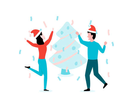 Man and woman celebrate New Year in xmas hats