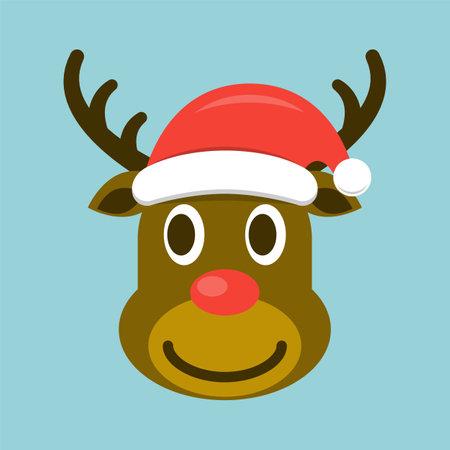 Christmas deer in santa hat vector illustration