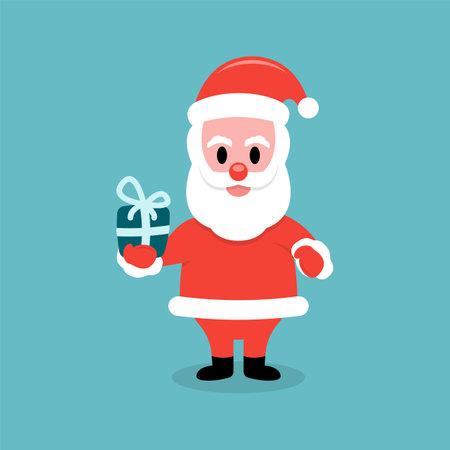 Santa Claus holding gift box Çizim