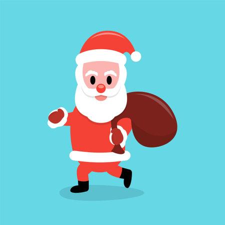 Santa Claus carrying a gift bag Çizim