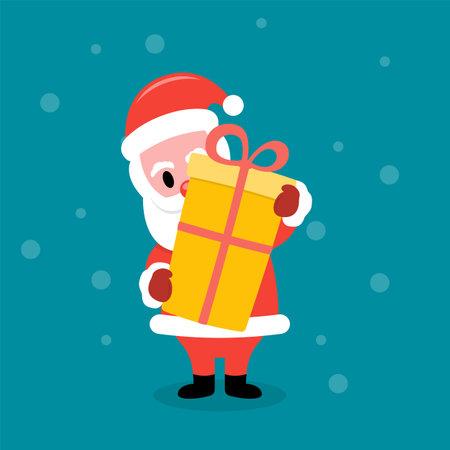 Santa Claus holding a big gift box Çizim