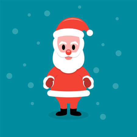 Santa Claus stands on a blue background