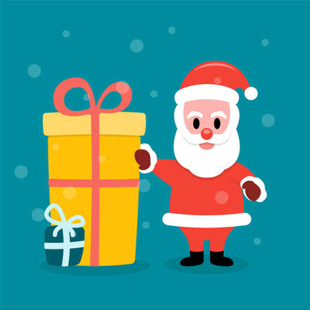 Santa Claus greets standing near gift boxes