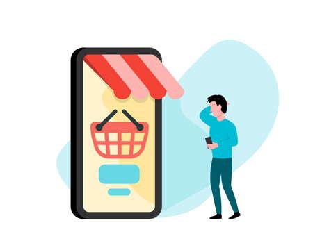 Customer using smartphone for mobile shopping vector illustration