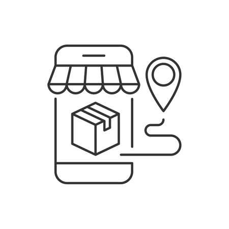 Package delivery from mobile shopping. Editable stroke Ilustração