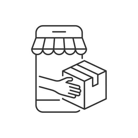 Online package delivery linear icon on white
