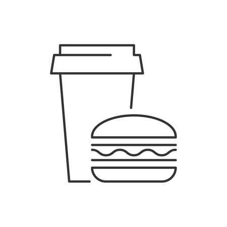 Fast Food linear icon on white background Ilustração