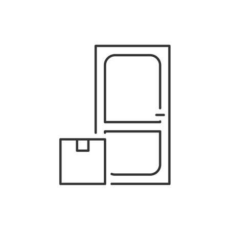 Delivery parcel to the door linear icon Ilustração