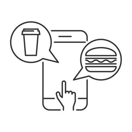 Order food online via mobile phone linear icon