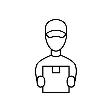 Courier linear icon on white background. Vector illustration Ilustração