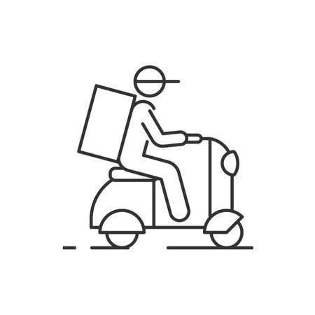 Delivery man on scooter outline icon on white background