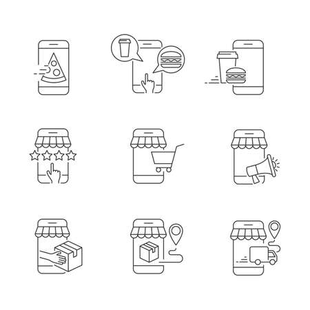 Mobile shopping and delivery linear icons on white