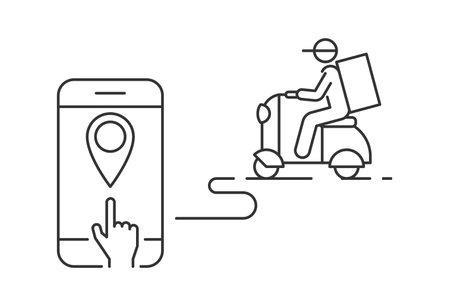 Food delivery service vector illustration. Online food order mobile app