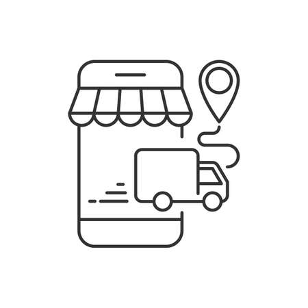 Delivery by truck of online orders from mobile phone
