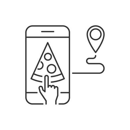 Order pizza on the mobile app linear icon