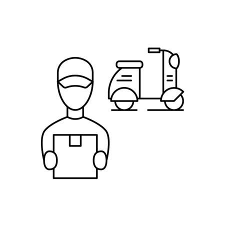 Courier delivered the parcel on a scooter linear illustration