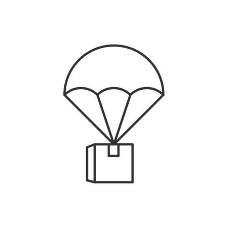 Parcel by parachute linear icon on white background Ilustração