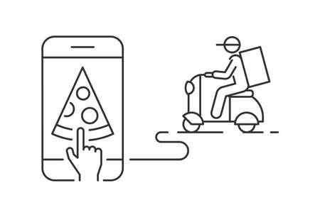 Fast delivery pizza by scooter on mobile phone linear illustration Ilustração