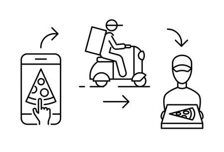 Online order of pizza delivery service with infographics linear illustration Ilustração