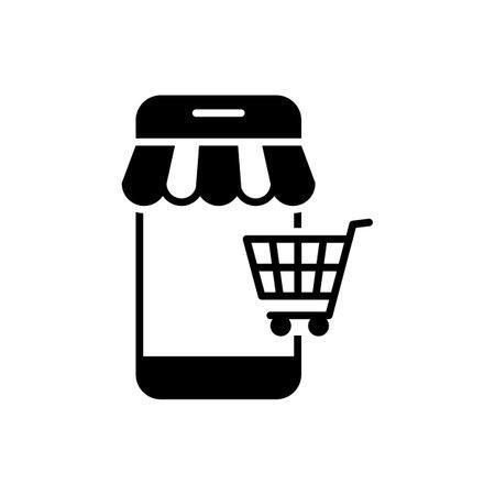 Mobile shopping black icon on white background