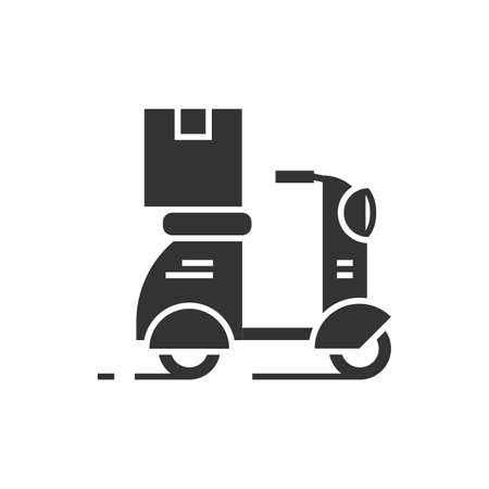 Parcel delivery on a scooter black icon