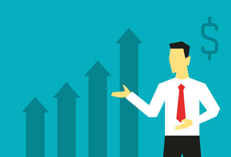 Businessman presents a growing profit graph on blue background