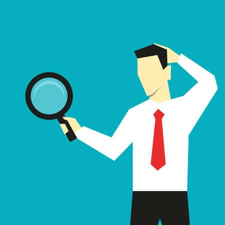 Businessman search for business solutions vector illustration Ilustração
