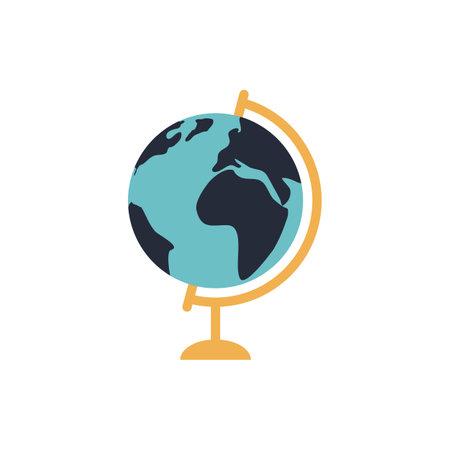 School globe flat icon on white background