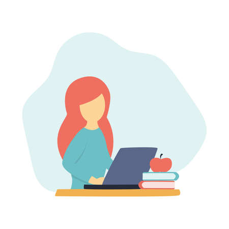 Girl studying or working on laptop