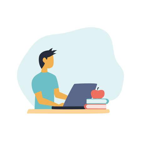 Boy studying or working on laptop Illustration