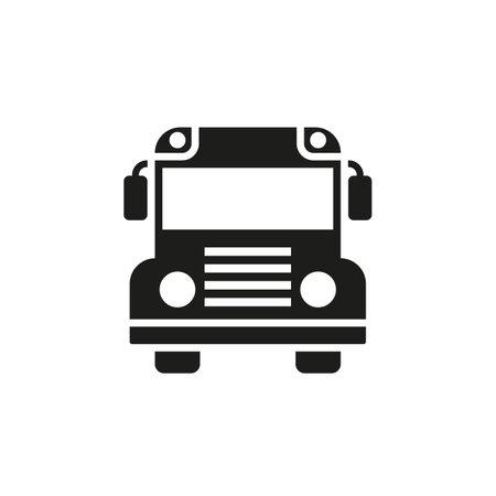 School bus black glyph icon