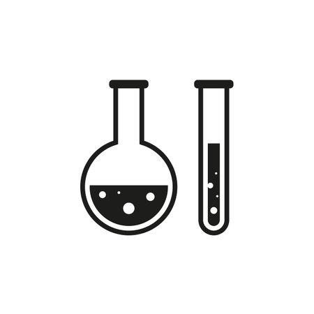 Laboratory test tubes black glyph icon