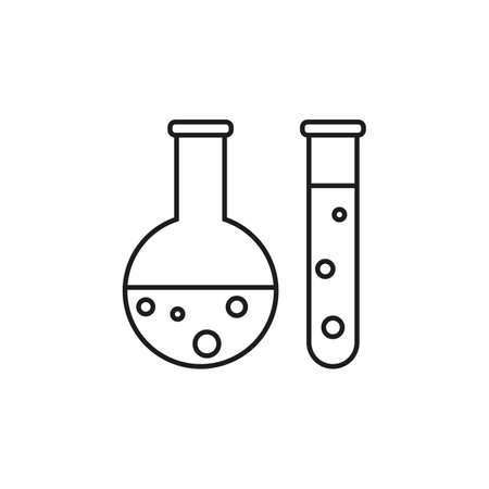 Laboratory test tubes line icon