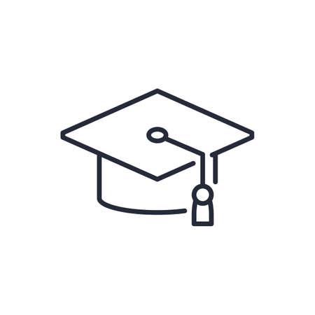 Graduation cap line icon on white background Illustration
