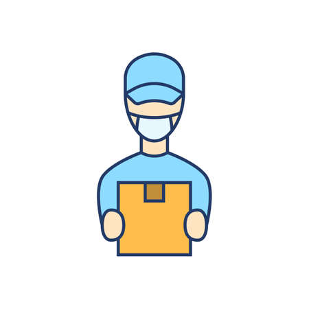 Courier in face mask flat line icon